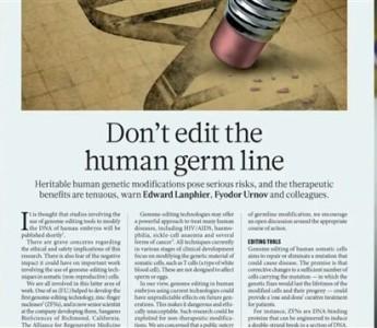 ¿Modificar la línea germinal del embrión es éticamente aceptable?